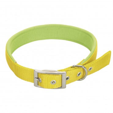 Collier réglable Confort en sangle nylon - Jaune