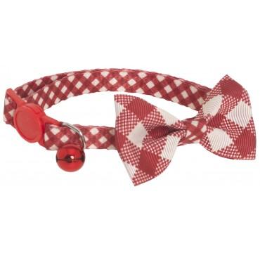 Collier réglable anti-étranglement en nylon Nœud Papillon - Rouge